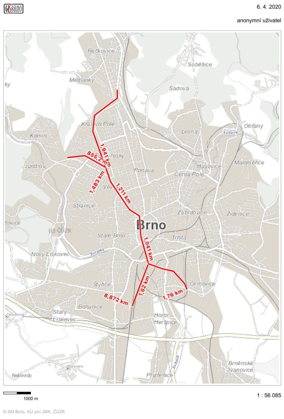 Návrh vedení podpovrchové kolejové dopravy dle územního plánu. Jaro 2020