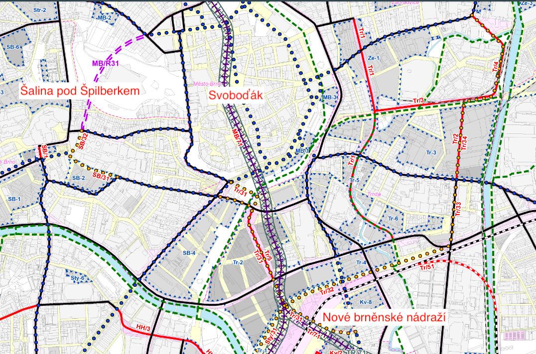 Návrh vedení brněnské podzemky