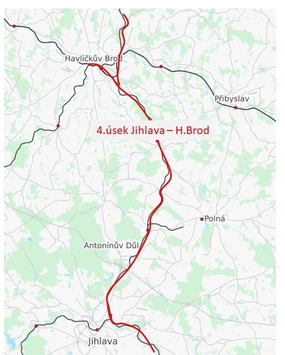 4.úsek sagitání dráhy Jihlava - Havlíčkův Brod