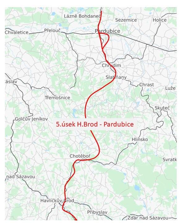 5.úsek sagitální dráhy Havlíčkův Brod - Pardubice