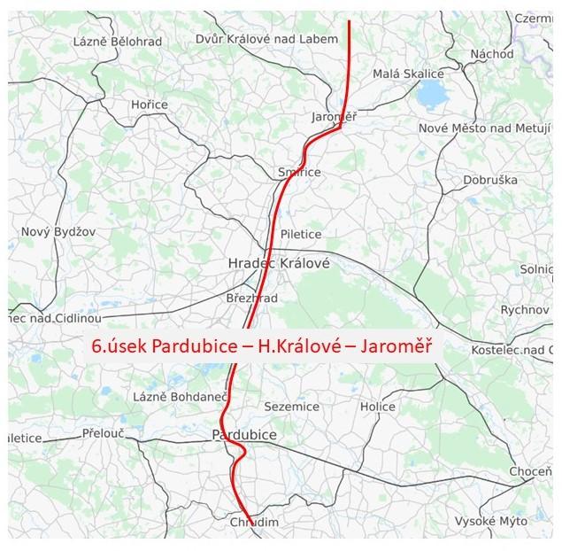 6.úsek sagitální dráhy Pardubice - Hradec Králové - Jaroměř