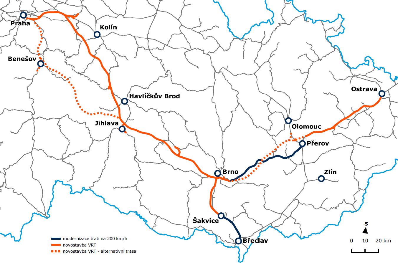 Navržená nová spojení v okolí Brna