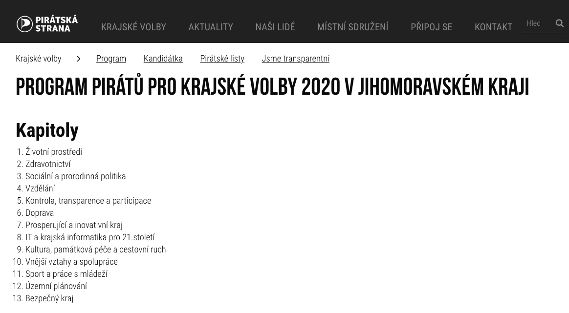 Program Pirátu pro Jihomoravské volby 2020