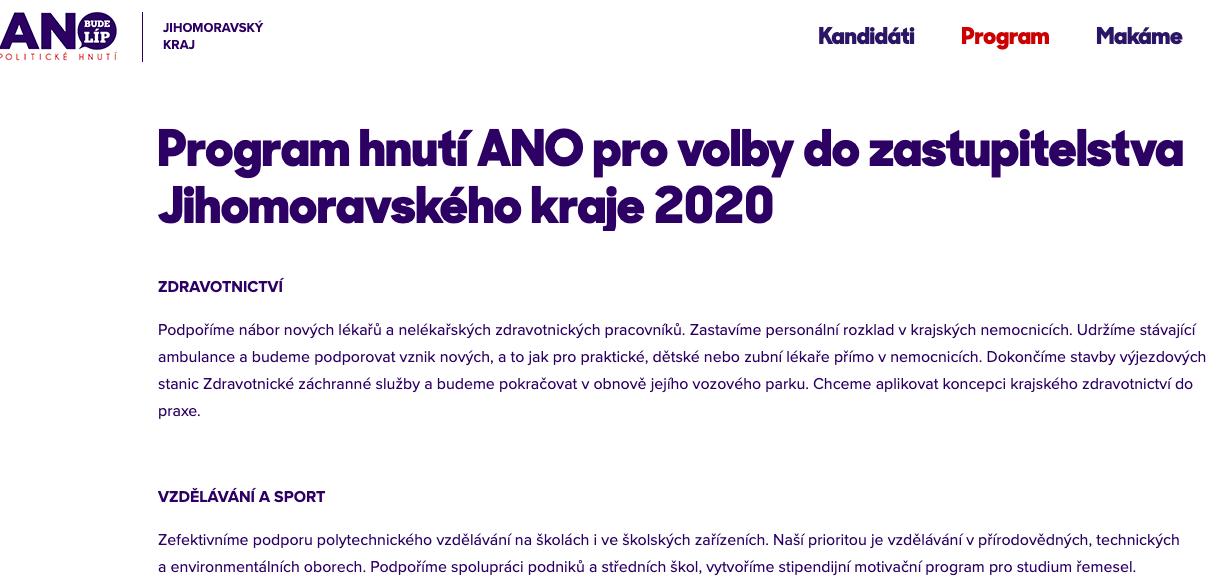 Volební program ANO před Krajskými volbami