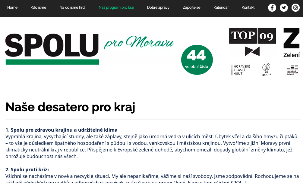 Volební program SPOLU před Krajskými volbami