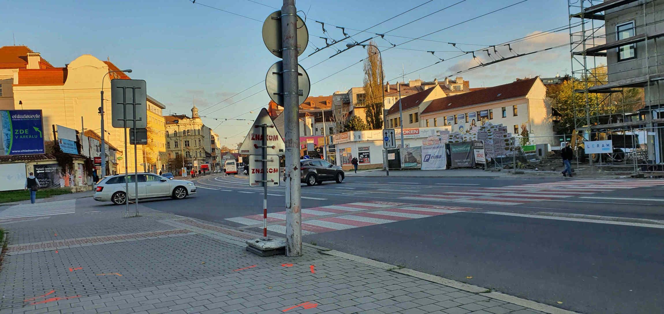 Přechod na Křenové ulici