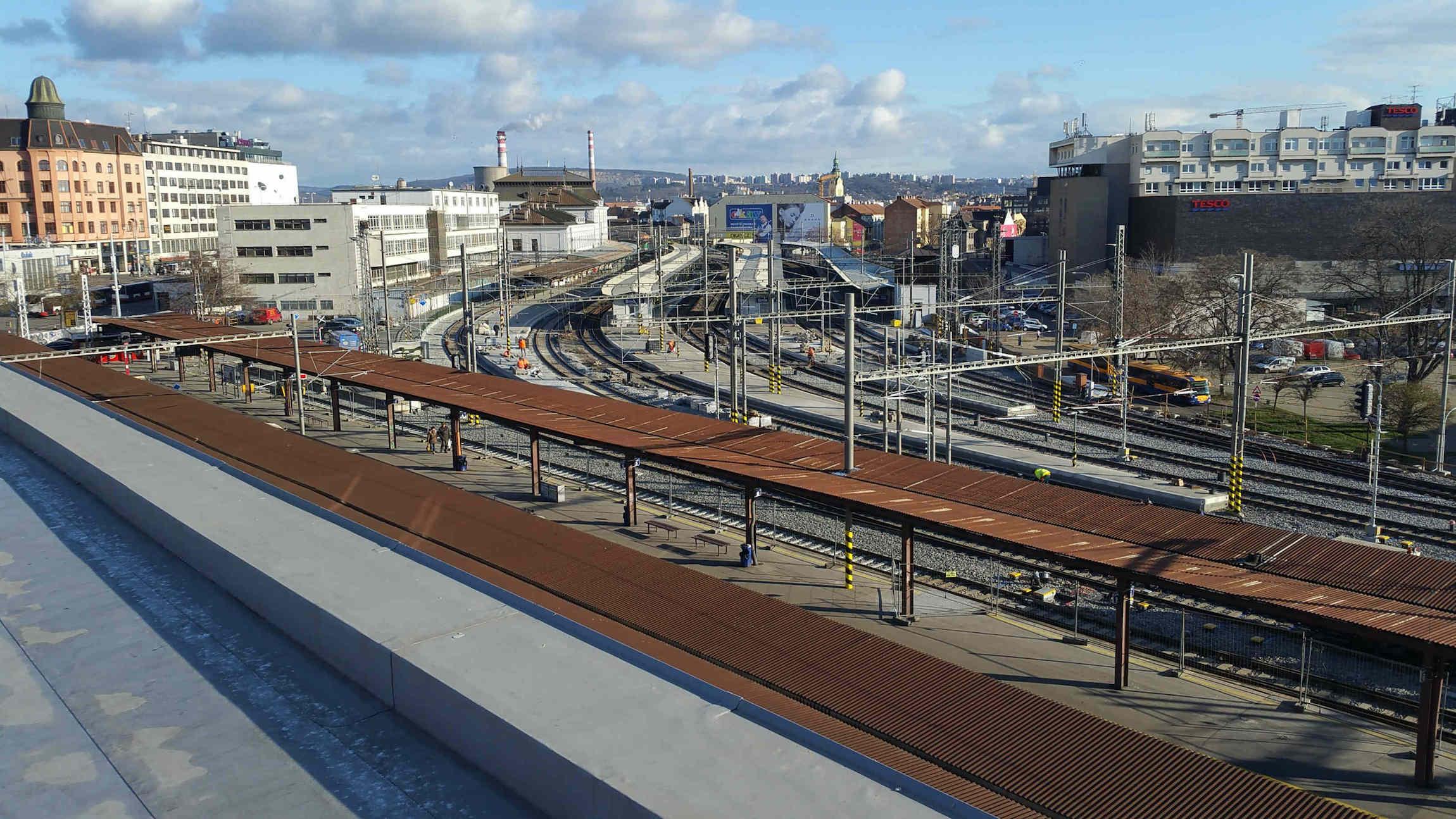 Pohled na brněnské hlavní nádraží