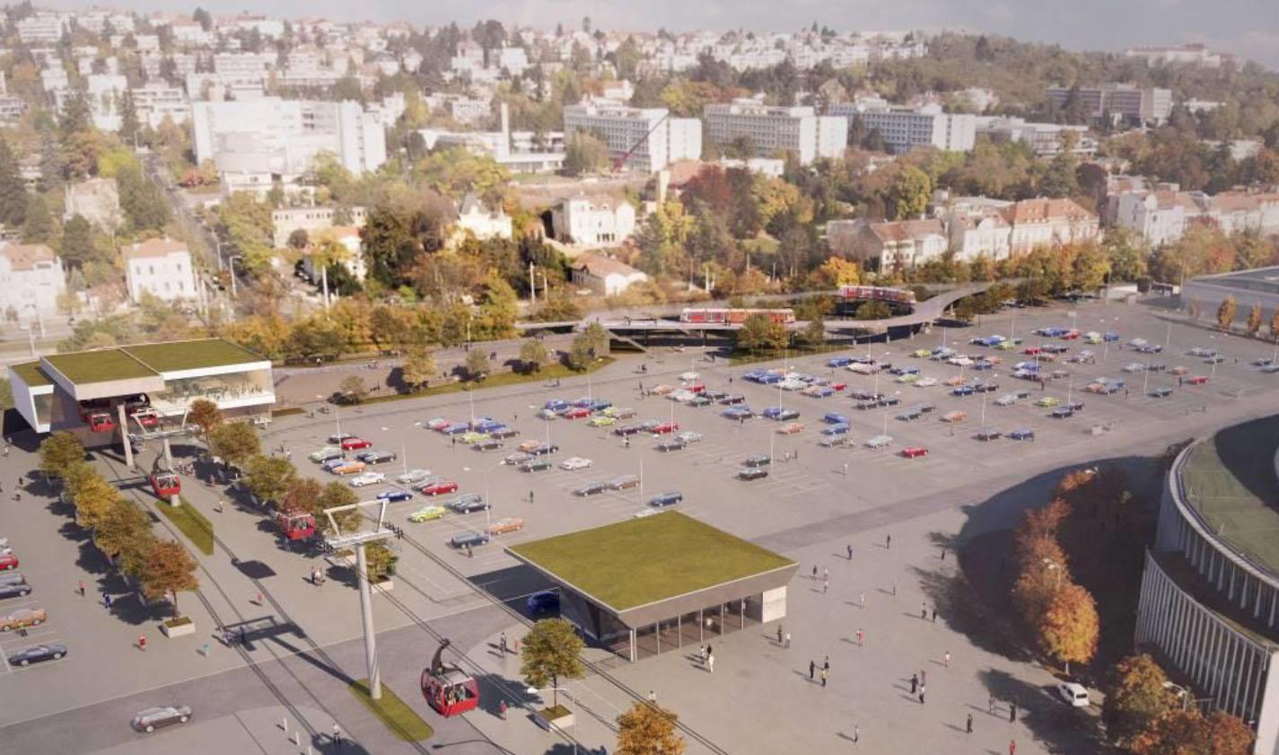 Vizualizace stanice lanovky dole v Pisárkách u výstaviště