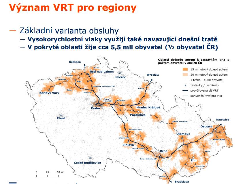 Pokrytí území ČR VRT železnici