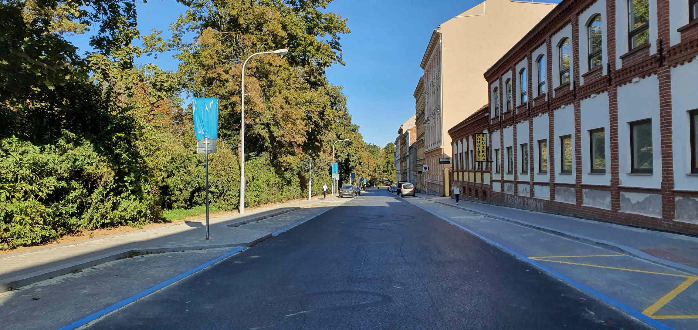Ulice Lužánecká v Brně po rekonstrukci