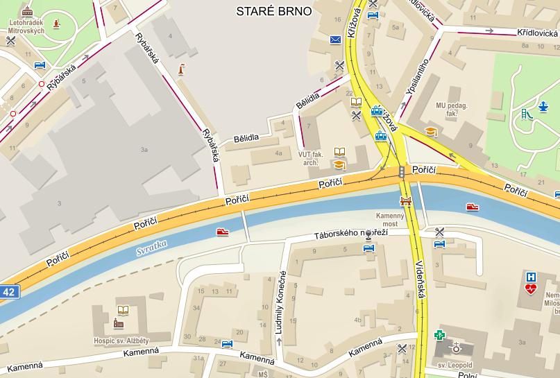 Mapa lávky pro pěší v Brně na řece Svratce