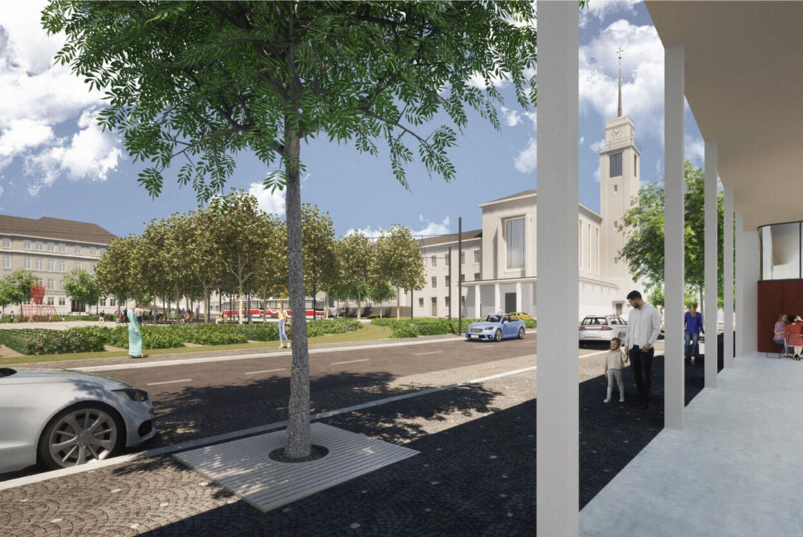 Vizualizace nové podoby náměstí Míru: 1. cena - Luboš Františák – ARCHITEKT