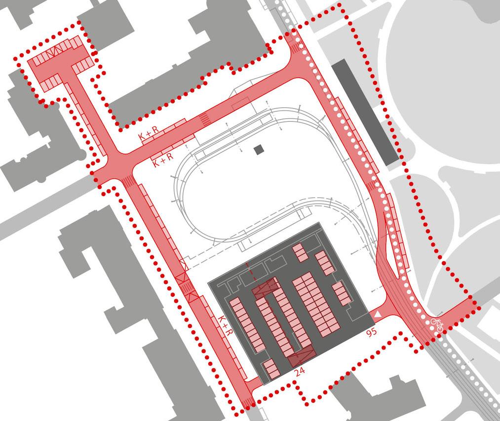 Nákres dopravního řešení  nové podoby náměstí Míru v Brně