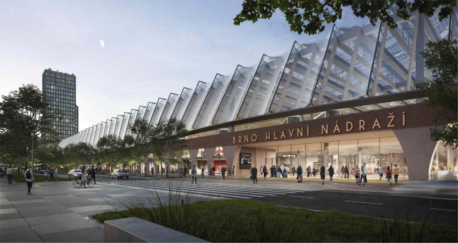 Vítězný návrh nové podoby brněnského hlavního nádraží