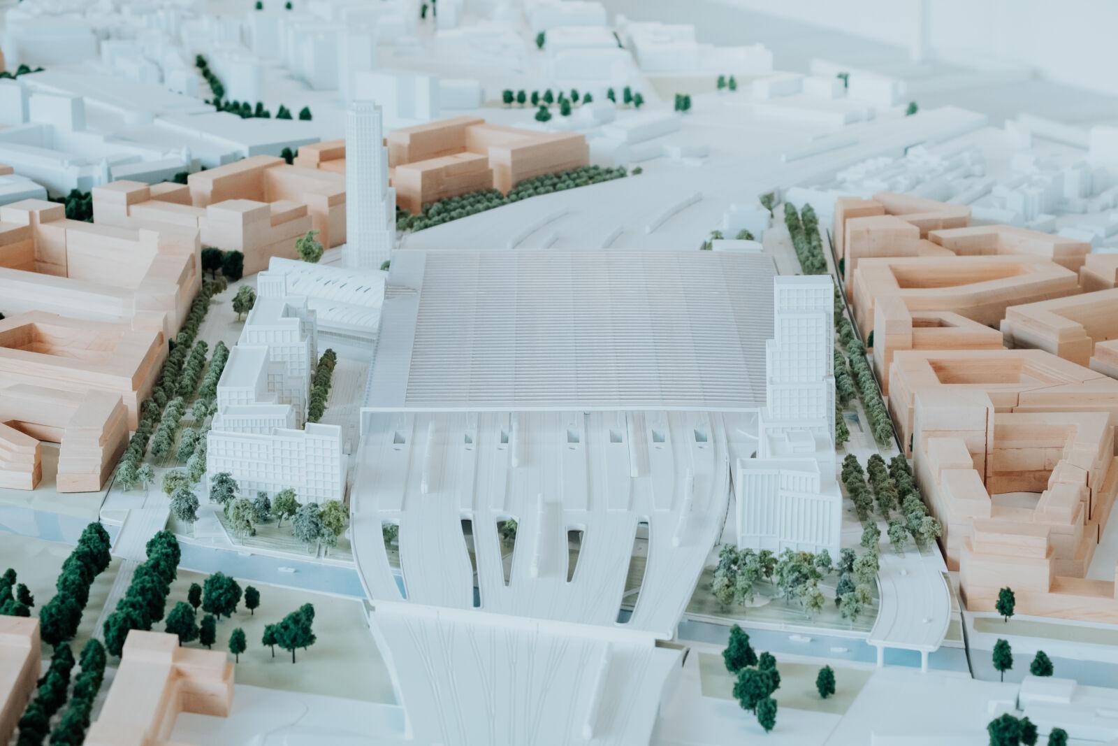 Model území kolem nového hlavního nádraží v Brně, 2021
