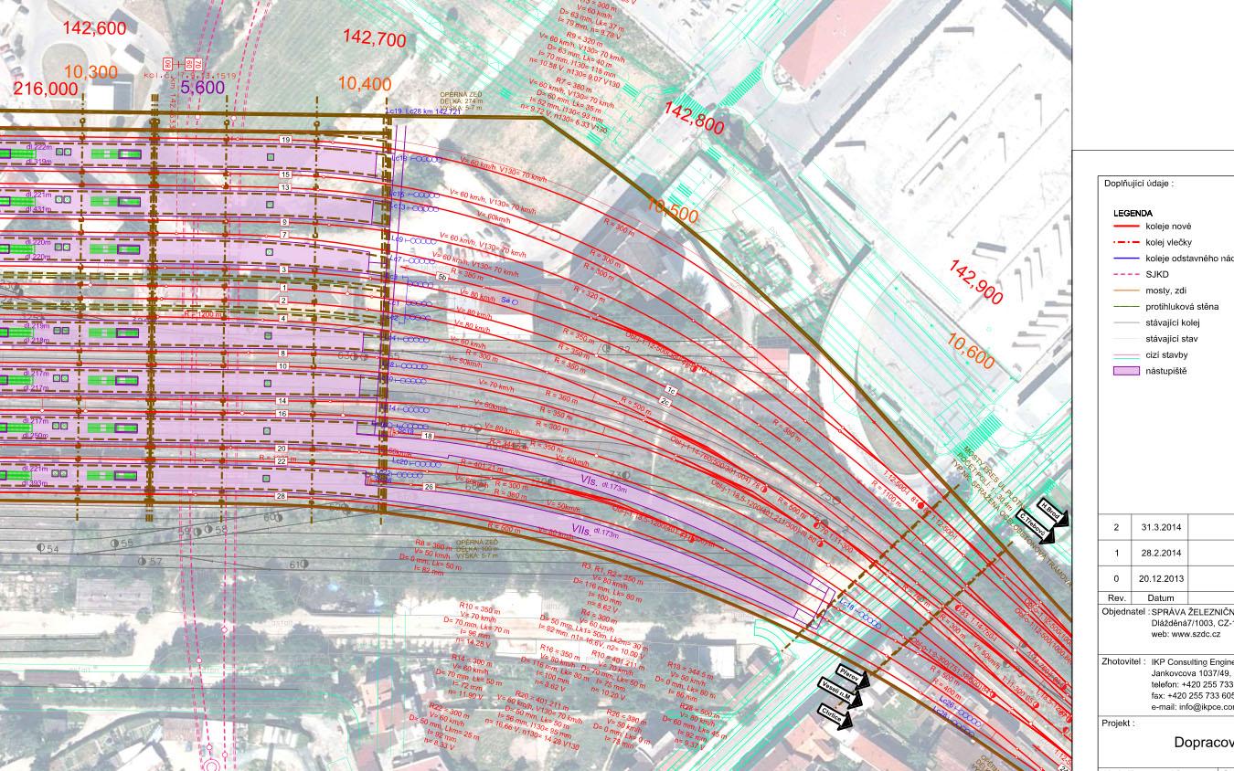 Plán nového hlavního brněnského nádraží a poloha současného autobusového nádraží Zvonařka