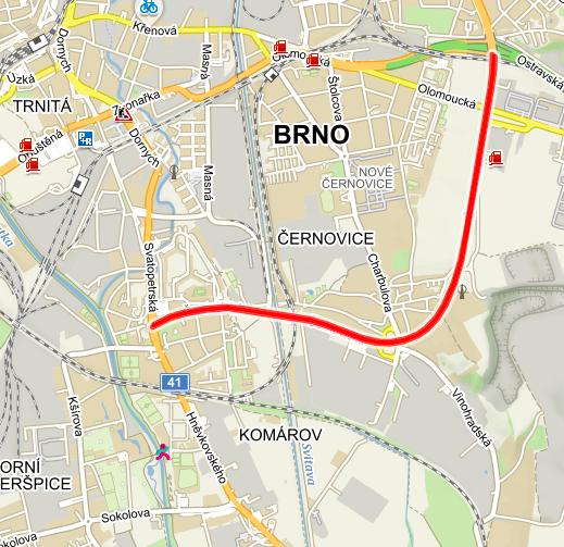 Poloha nové brněnské nemocnice